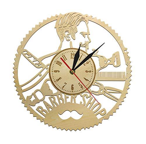 DFERT Reloj De Pared De Peluquería Hipster Peluquería Peluquería Salón De Belleza Reloj De Madera Reloj De Pared Hecho A Mano Peluquería Decoración De Pared Rústica