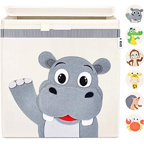 I GO Caja de almacenaje caja de juguetes para niños con tapa para estantería habitación infantil 33x33x33cm, hipopótamo