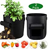 Grow Bags for Potato,2-Pack 10-Gallon Garden Growing Bag,Velcro Window Growing Bag,Vegetables/Flower/Plants Planting Bag with Handles