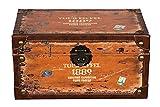 SJ14306 - Baúl de madera con tapizado de piel estilo vintage, con diseño de...
