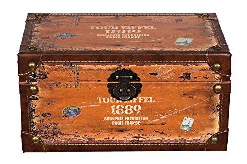 SJ14306 - Baúl de madera con tapizado de piel estilo vintage, con diseño de maleta de viaje antigua, viaje de ciudad, torre Eiffel, baúl del tesoro