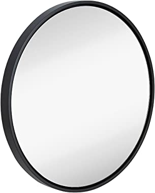 "Clean Large Modern 32"" Black Circle Frame Wall Mirror 