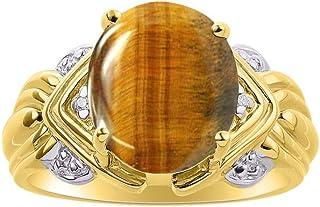 RYLOS - Anillo de mujer ovalado con gema de cabujón y diamantes brillantes auténticos de 14 K chapado en oro amarillo plat...
