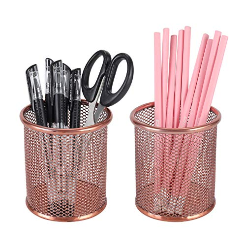 PAG Rose Gold Pencil Holders Cup Metal Wire Pen Organizer Makeup Brush Holder for Desk, Set of 2