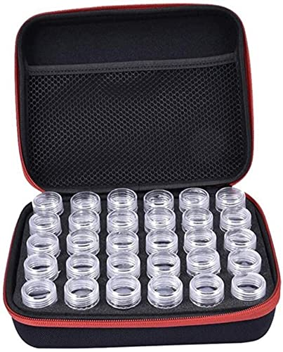Caja de 30 ranuras de diamantes de plástico para guardar las perlas y los tarros de almacenamiento para manualidades, decoración de uñas
