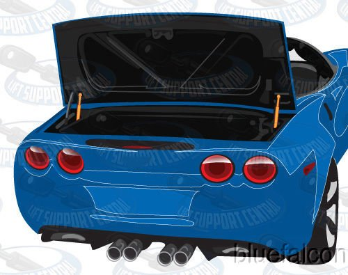 Two Rear Trunk Lid Gas Charged Lift Supports for 1998-2013 Corvette Convertible, 1999-2000 Corvette Base Coupe, 2001-2004 Corvette Z06 Coupe. WGS-175-2