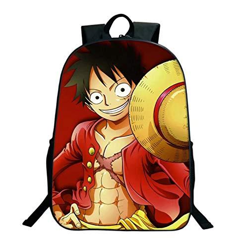 Una pieza mochila anime dibujos animados imagen Luffy 3D impreso diario bolsa para niños