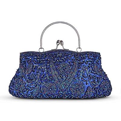 Baglamor Fashion Beaded Handbag Winter Handbag Kissing Lock Bag Satin Evening Clutch