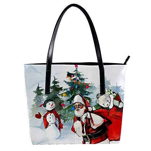 Navidad santa muñeco de nieve abeto árboles de las mujeres Bolsos, cuero...
