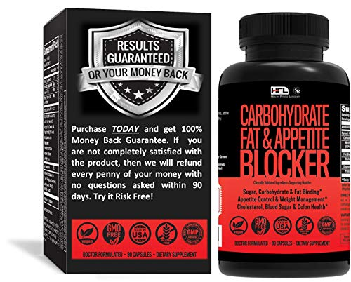 Carb Blocker by Dr Robbins | Contains Phase 2 White Kidney Bean Extract, Garcinia Cambogia, Chitosan, Nopal (Prickly Pear Extract), Glucomannan | Made in USA | 90 Veg Capsules