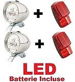CicloSportMarket 2 x Kit Fanale Luce Anteriore + 2 x Fanale Posteriore al parafango LED Bicicletta Olanda - R - Graziella - Vintage - City Bike - Uomo/Donna - BATTERIE Incluse