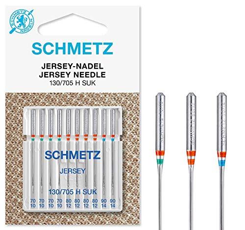SCHMETZ Nähmaschinennadeln: 10 Jersey-Nadeln, Nadeldicke 70/10-90/14, Nähset, 130/705 H SUK, auf jeder gängigen Haushaltsnähmaschine einsetzbar, geeignet für Jersey, Strick- und Wirkwaren