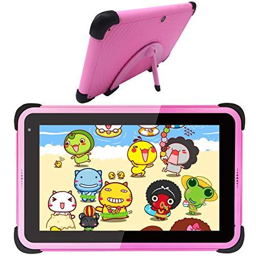 Tableta para niños Tableta para niños con Android 10 Tableta de aprendizaje para niños Tableta con WiFi niños pequeños para la escuela en casa Tableta educativa de con estuche a prueba de niños (Rosa)