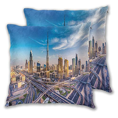 LISNIANY Cushion Cover,Panoramic View of Dubai Arabian Cityscape High Rise Buildings Traffic Roads,Pillow Case Cover Square Cushion Cover for Sofa Car Home Bed Decor 45 x 45cm