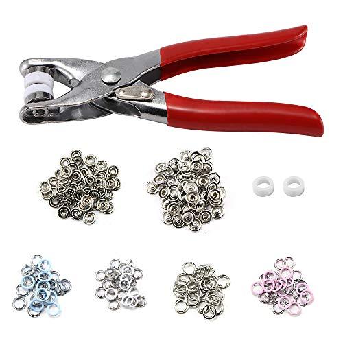 UTDKLPBXAQ 200 unids/Set de Botones de presión de Metal de 8,5 mm con alicates de sujeción, Kit de Herramientas de presión para Coser y Manualidades (4 Colores)