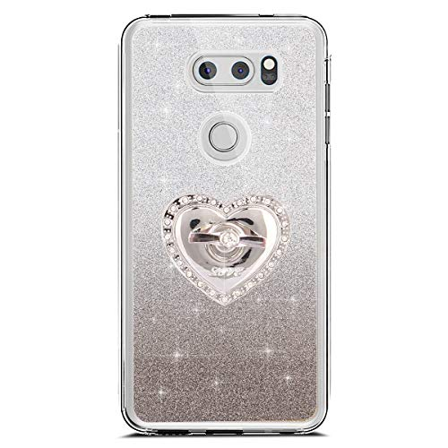 JAWSEU Coque LG V30,Etui LG V30 Silicone TPU Case Glitter Paillette Brillant Mat Strass Case Anneau de Support Cristal Flexible Soft Gel Bumper Case,Noir