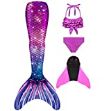 DNFUN niñas Colas de Sirena con monoaleta para Nadar Incluyen Trajes de Sirena baño de Bikini,Pink,R8+WJF74,150