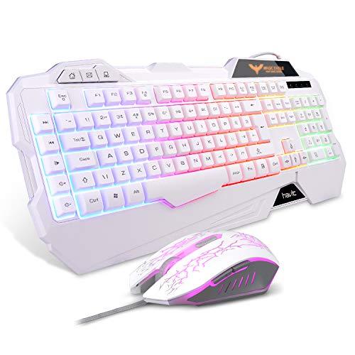 havit gaming toetsenbord en muis combinatie, verstelbaar toetsenbord met LED-achtergrondverlichting, zeven kleuren DPI verstelbare muis, wit (UK layout)