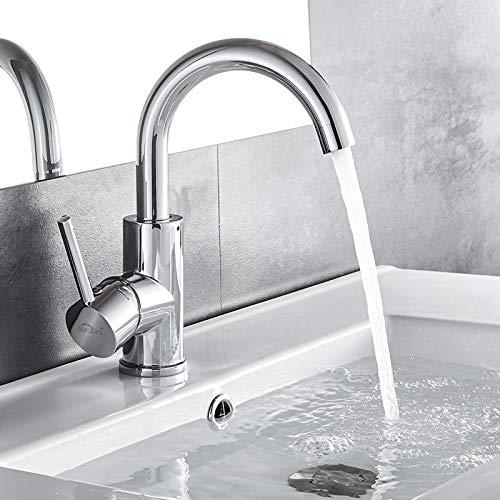 Auralum chrom Wasserhahn 360° Drehbar Bad armatur Waschbecken Mischbatterie Waschtischarmatur Einhandmischer Badarmatur fürs Badezimmer(50CM Schlauch)