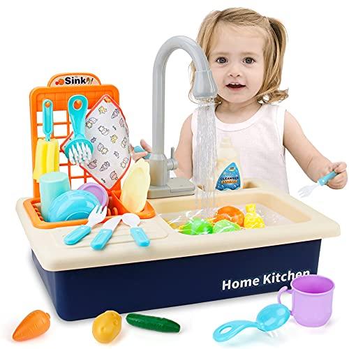 Mini Tudou Juguete de cocina con agua fluida, juego de juguetes para el fregadero electrónico con nuevo grifo, juego de rol para niñas, niños pequeños y niños (azul)