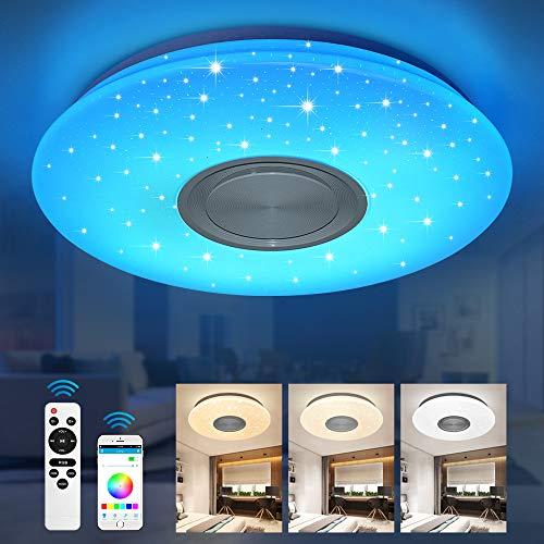 Bluetooth Deckenleuchte 24W Ø 40CM LED Deckenlampe mit Lautsprecher, Fernbedienung und APP-Steuerung, JDONG RGB Farbwechsel, dimmbar, Sternenhimmel Lampe