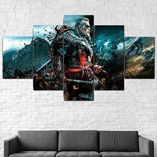 MTRSLH Wohnkultur Modular Kunstwerk Drucken 5 Panele Drucke Auf Leinwand Assassins Creed Valhalla Vikings Poster Bilder Wandkunst Für Wohnzimmer XXL 150x80cm