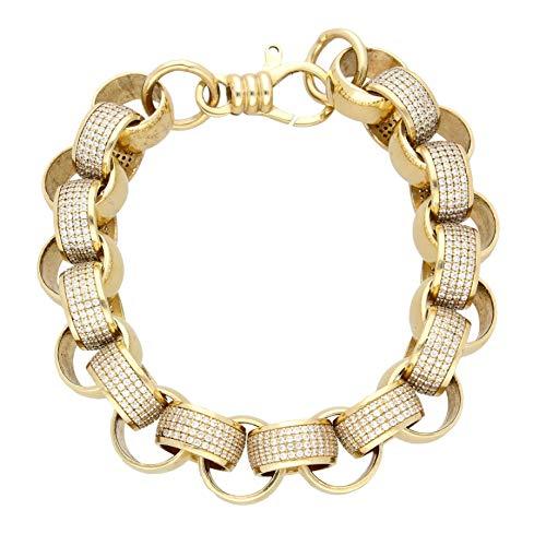 Herren-Armband 9 Karat (375) Gelbgold künstlicher Diamant 13 mm breit