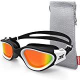 ZIONOR Swimming Goggles, G1 Polarized Swim Goggles UV Protection Watertight Anti-Fog Adjustable Strap Comfort fit for Unisex Adult Men and Women (Polarized Red Lens White Frame)