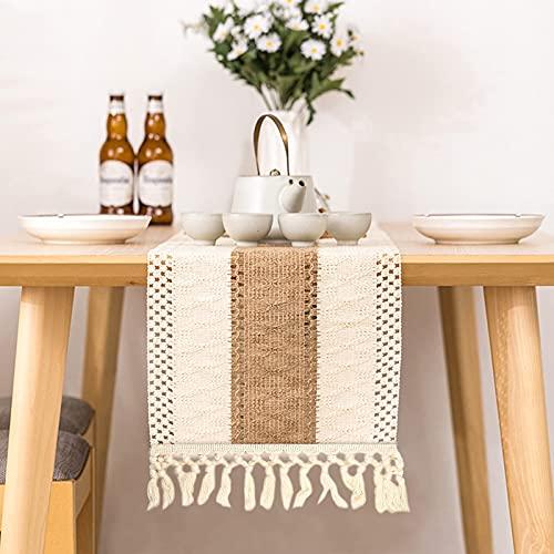 无品牌 Camino de mesa de algodón de macramé, color beige, estilo vintage, tejido de ganchillo, malla hueca, para decoración de bodas y casas de campo, decoración de mesa (30 x 180 cm)