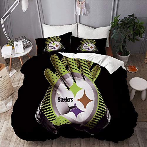 MAYBELOST Bettwäsche-Set,Mikrofaser,Pittsburgh Steelers Sign Design,1 Bettbezug 240x260 + 2 Kopfkissenbezug