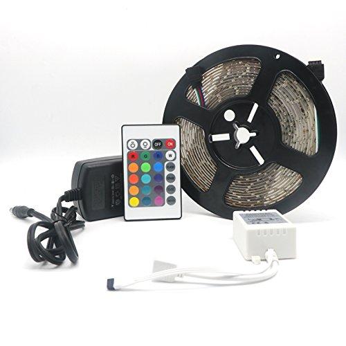 Vansuky LED Strip┃LED Streifen 5 Meter Band, Leiste mit 300 LEDs (SMD 3528) inkl. wasserdicht IP65,einschließen netzteil & fernbedienung, Bunte Fernbedienung RGB