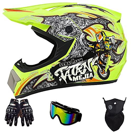 Casco De Motocross, con Gafas Guantes Protector Facial Casco De Seguridad para Choque De Bicicleta De Montaña para Jóvenes Y Adultos Certificación Dot