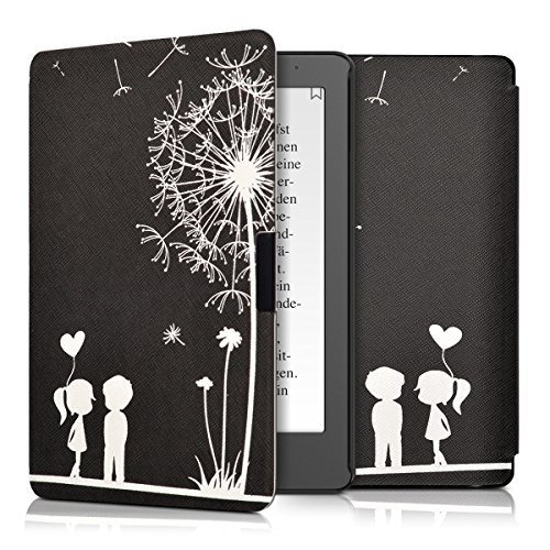 kwmobile Custodia compatibile con Kobo Aura Edition 2 - Cover in simil pelle magnetica Flip Case per eReader bianco/nero