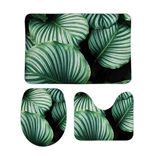 40x60cm Water-Resistant Shower U-Shaped Mats Rainforest Green Leaves Rugs Mats Sets 3 Piece-Washable Bath Rug+Toilet Mat+Lid Cover