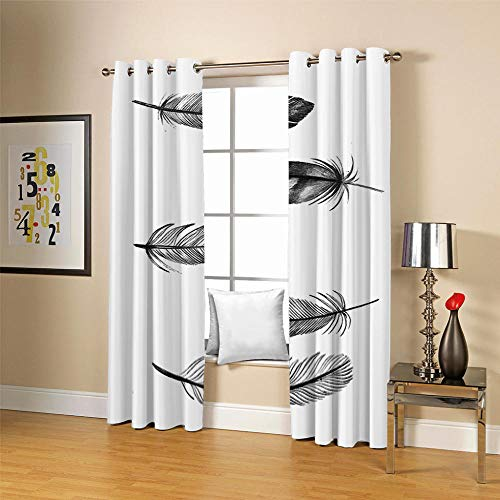 QHDIK Kids Printed Blackout Curtains for Bedroom feather Patterns Curtains Eyelet Thermal Insulated Room Darkening Window Treatment for Living Room Nursery 2 Panels W46 x H54 inch