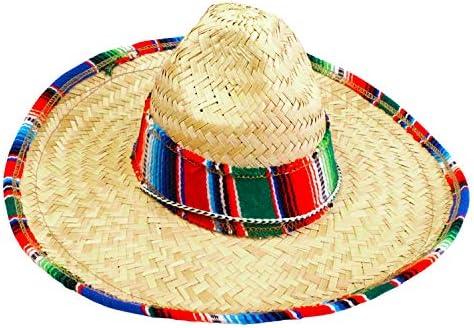 GiftExpress Child Sombrero Hat with Serape Trim, Straw Hat for Cinco de Mayo, Mexican Serape Costume