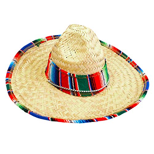 GiftExpress Child Sombrero Hat with Serape Trim, Straw Hat for Cinco de Mayo, Mexican Serape Costume - coolthings.us