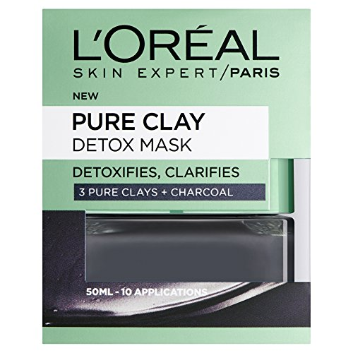 L'Oreal Paris Pure Clay Black Charcoal Detox Face Mask, Deep Cleansing...