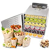 Food Dehydrator Machine 6 Trays Stainless Steel Electric Food Dryer Digital Adjustable Timer and...
