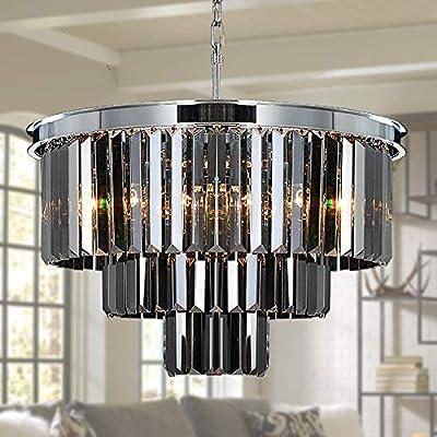 Meelighting 8 Lights Modern Contemporary Crystal Chandeliers Lights Pendant Ceiling Chandelier Lighting Fixture 3-Tier for Dining Room Living Room