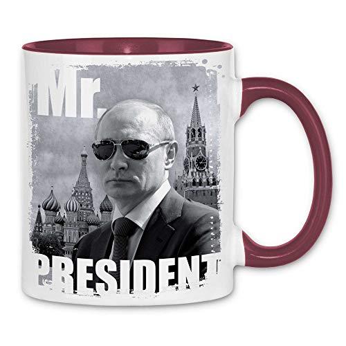 Royal Shirt rs18 Tasse Mr. President | Putin Sonnenbrille Moskau Roter Platz, Farbe :White - Bordeaux