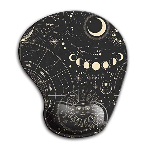 Dooke Ergonomic Mouse Pad with Wrist Support, Cute Mouse Pads with Non-Slip Rubber Base for Home Office Working Studying Easy Typing & Pain Relief Moon Sun