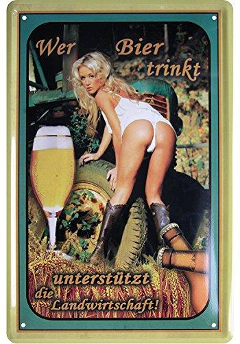Schatzmix Wer Bier trinkt, unterstützt die Landwirtschaft Pinup/pin up sexy Girl blechschild erotik metallsign