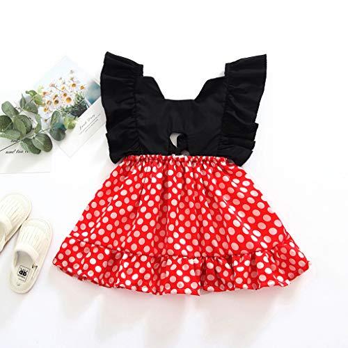 Janly Clearance Sale Vestido de niña para niñas de 0 a 10 años de edad, bebé niña niña sin espalda, estampado de lunares, vestido de princesa, ropa para niños pequeños de 12 a 18 meses (rojo)