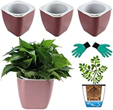 DeEFL 3 Packs 7 Inches Large Self Watering Planters Plastic Self Watering Pots Wicking Flower Pots for Indoor Plants, African Violet, Ocean Spider Plant, Orchid, Rose Gold