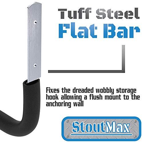 StoutMax Heavy Duty Bike Garage Ladder Storage Hooks Wall Organizer Set, Ideal for wall brackets (6 Pack)