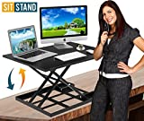Standing Desk Stand Up Desk Height Adjustable Desk Standing Desk Converter Sit Stand Desk Converter Foldable Desk Adjustable Height Desk Folding Workstation Desk Riser Ergonomic Table Stand - 32 inch