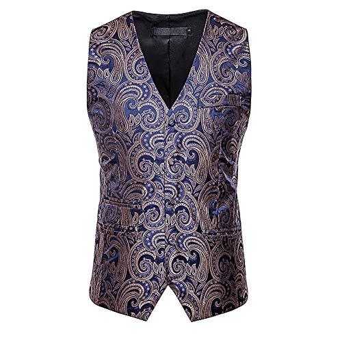Story of life mannen casual klagvest Cashew Printed eenrijs vest disco prom gilet tops kostuum party clubwear podium