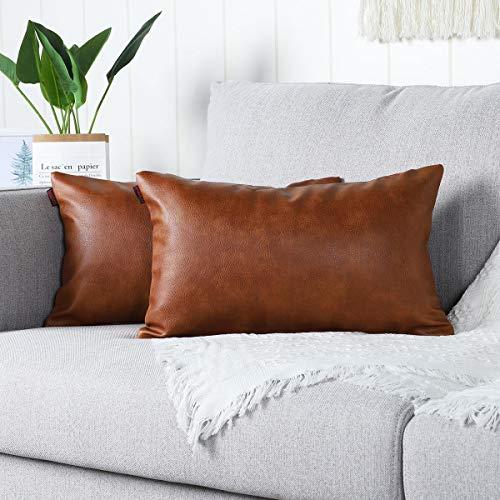Mandioo 2 Unidades Funda de Cojín de Sofá de Cuero de Imitación Hogar Decorativo para el Hogar Sofá del Dormitorio Sala de Estar Cama Funda de Almohada 30X50cm Marrón