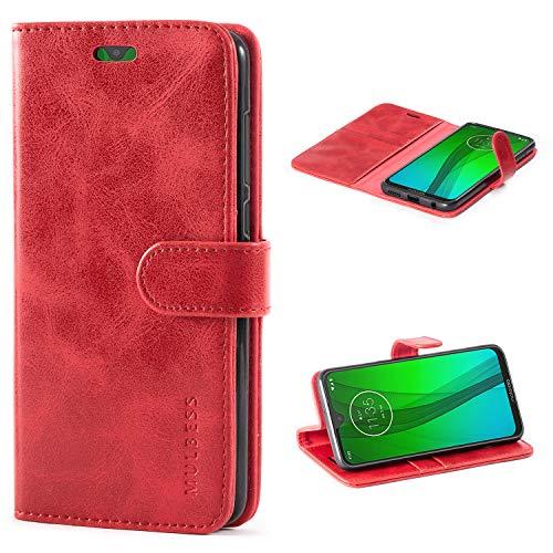Mulbess Handyhülle für Motorola Moto G7 Plus Hülle Leder, Motorola Moto G7 Plus Handy Hüllen, Vintage Flip Handytasche Schutzhülle für Motorola Moto G7 / G7 Plus Hülle, Wein Rot